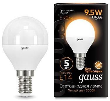 Светодиодная лампа GAUSS Black G45 9.5 Вт 3000K  E14 150-265 В