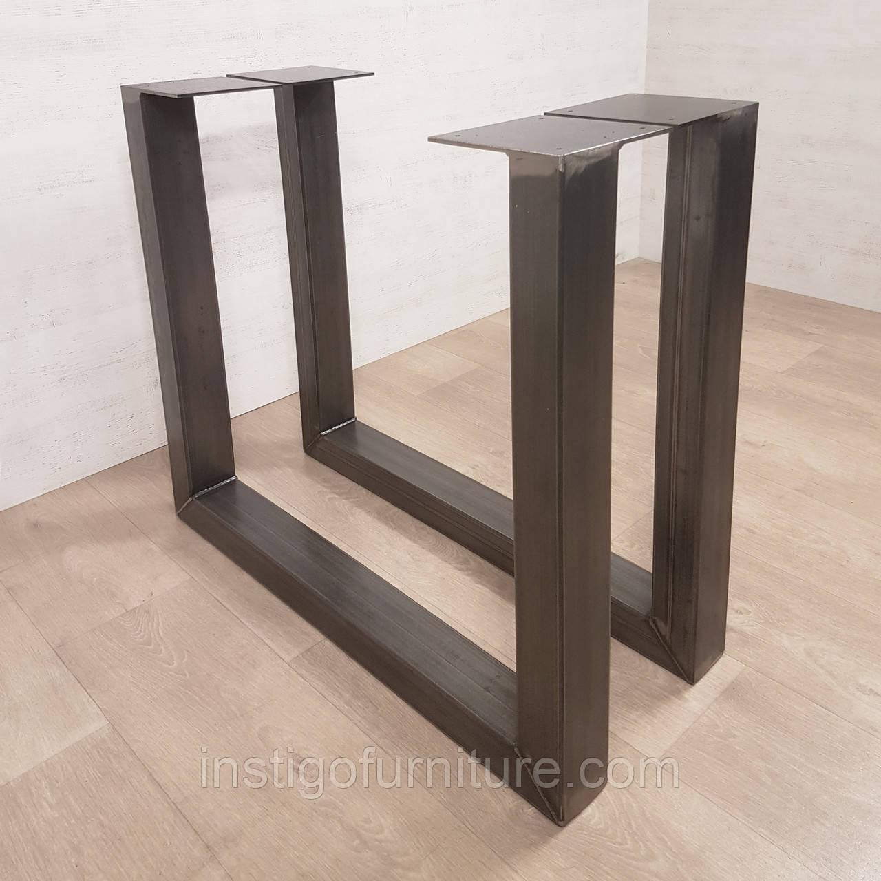 U-нога для стола из металла, покрытие лаком с чернением
