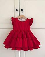 Червоне хлопкове платтячко для дiвчинки.