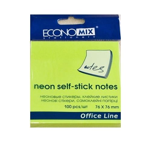 Блок для записей с клейким слоем 75*75мм Economix 100 листов, неон салатовый