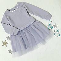 Платье нарядное детское, крепдайвинг с люрексом, размер 98-122, сиреневый