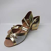 Туфли для танцев блок-каблук, Виктория (золото+ серебро с напылением)