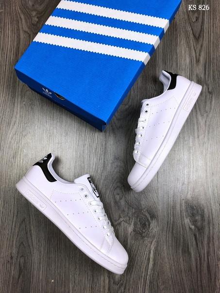 Мужские кроссовки Adidas Stan Smith (бело-черные)