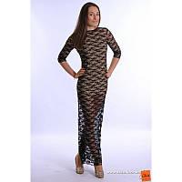 XS-S  Платье черное из гипюра в пол с открытой спиной и разрезом внизу