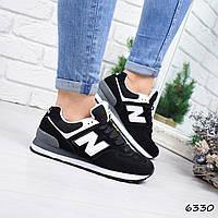 79faeace0 Кроссовки женские в стиле New Balance черные 6330, спортивная обувь