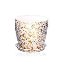 """Горшок цветочный лакированный """"Мрамор белый"""" 1л H=12,5cm D=13cm керамический."""