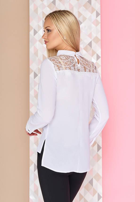 Нарядная шифоновая блузка с длинным рукавом и гипюром белая, фото 2