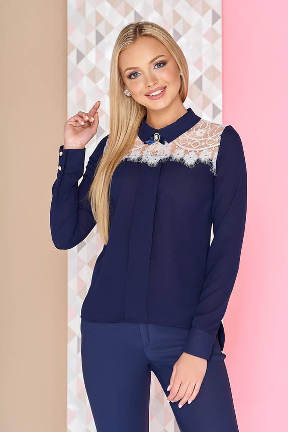 Нарядная шифоновая блузка с длинным рукавом и гипюром синяя, фото 2