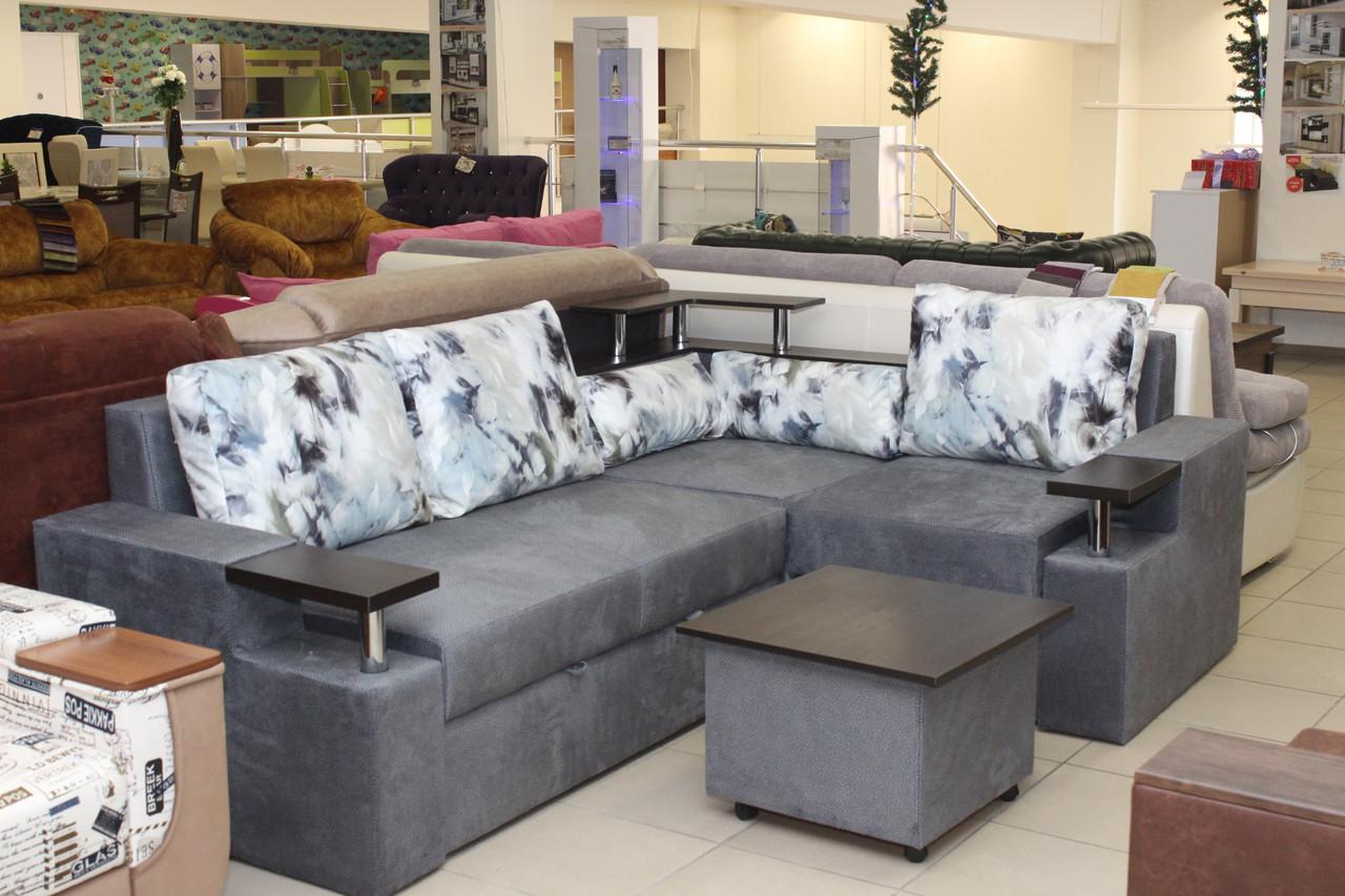 Угловой диван с приставным пуфом