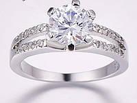 Серебряное кольцо, Кристалл, с камнем белый куб. цирконий, размер 19
