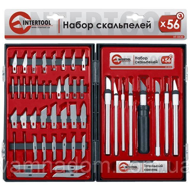 Набор скальпелей 56ед. в пластиковом футляре INTERTOOL HT-0530