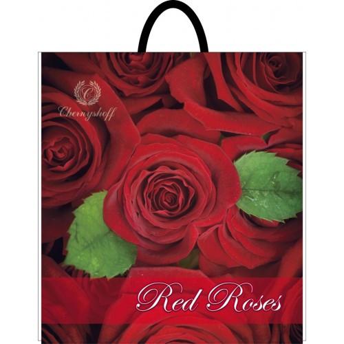 Полиэтиленовый пакет с петлевой ручкой ''Роза красная'' 400*420, 10 шт