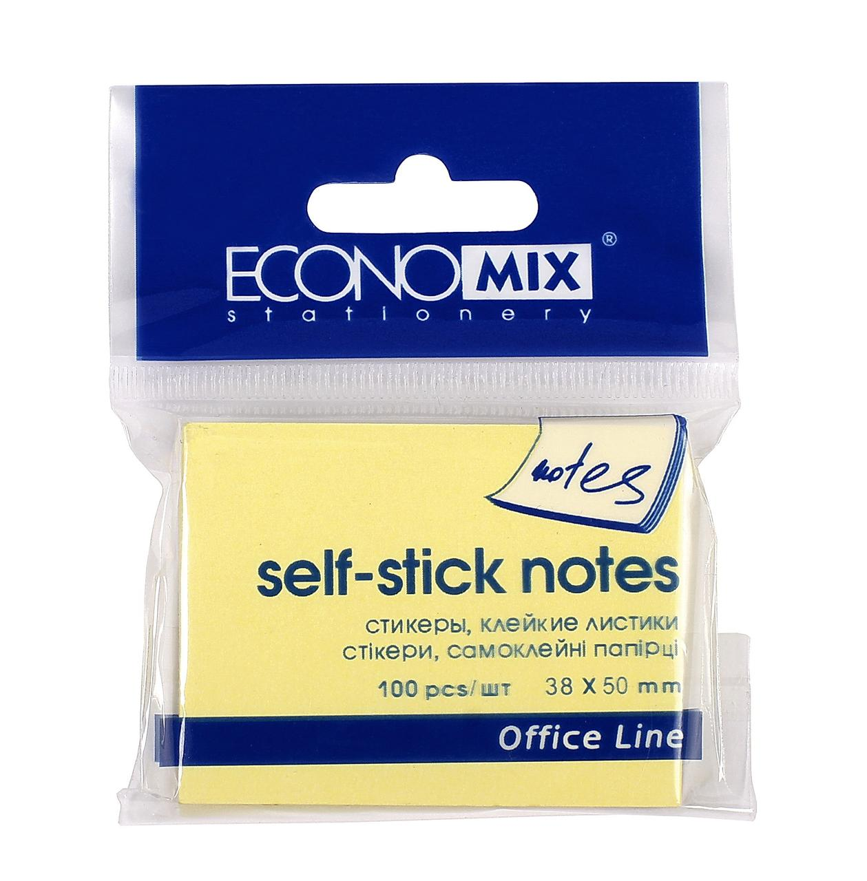 Блок для записей с клейким слоем 38*50 Economix, 100 листов желтый