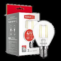 Светодиодная LED лампа MAXUS (filam), G45, 4W, теплый свет,E14 (1-LED-547-01)