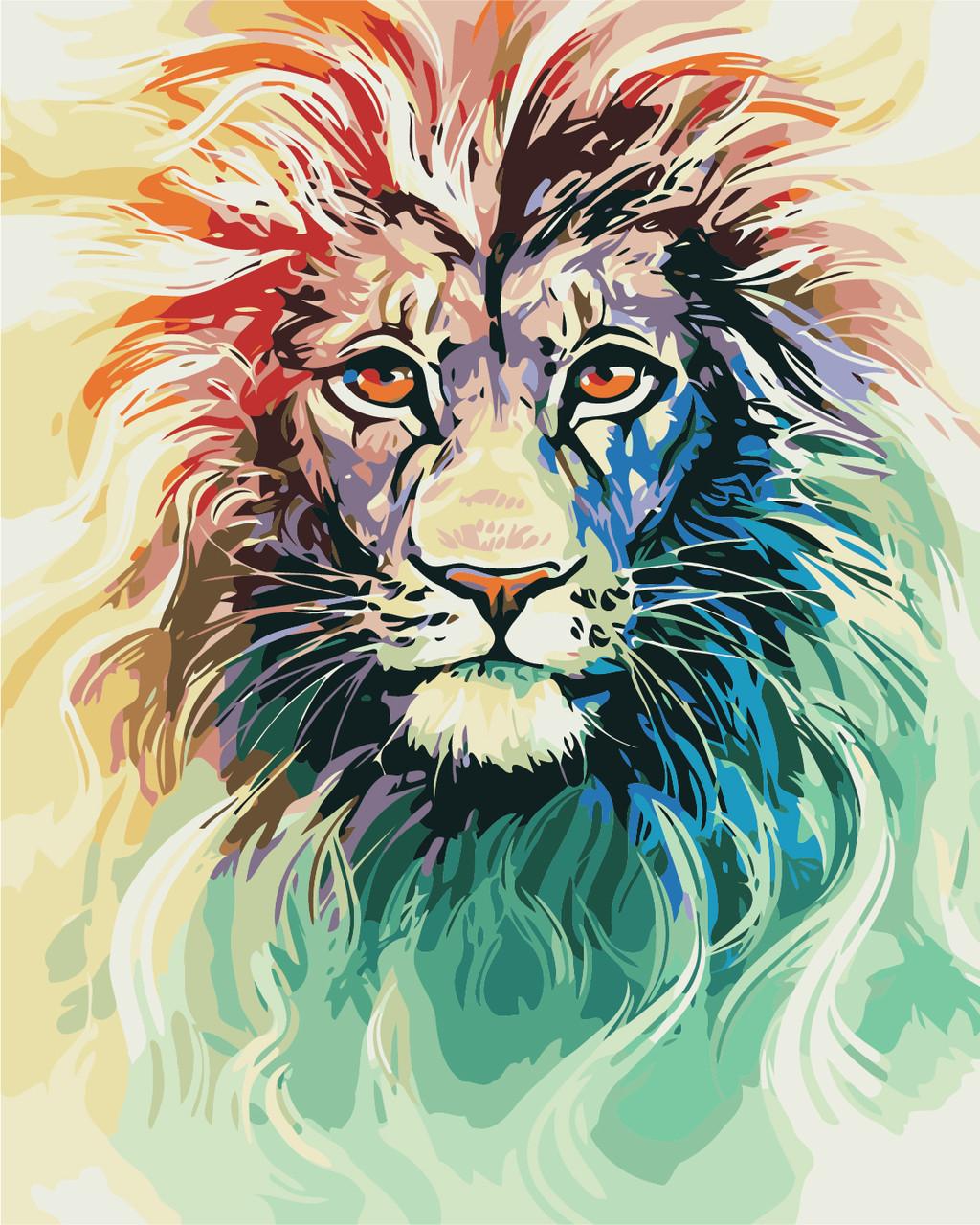 Художній творчий набір, картина за номерами Кольоровий лев, 40x50 см, «Art Story» (AS0404)
