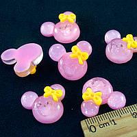 """(10шт) Серединки, кабошоны """"Микки"""" 20х18мм Цена указана за 10шт Цвет - розовый"""