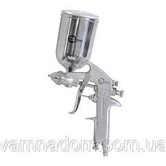 Краскопульт пневматический HP, форсунка 1.5мм, верхний металлический бачок 400мл., 5бар INTERTOOL PT-0202