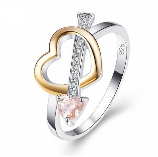 Серебряное кольцо, Сердце, с камнем оранжевый куб. цирконий, размер 17