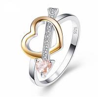Серебряное кольцо, Сердце, с камнем оранжевый куб. цирконий, размер 17, фото 1