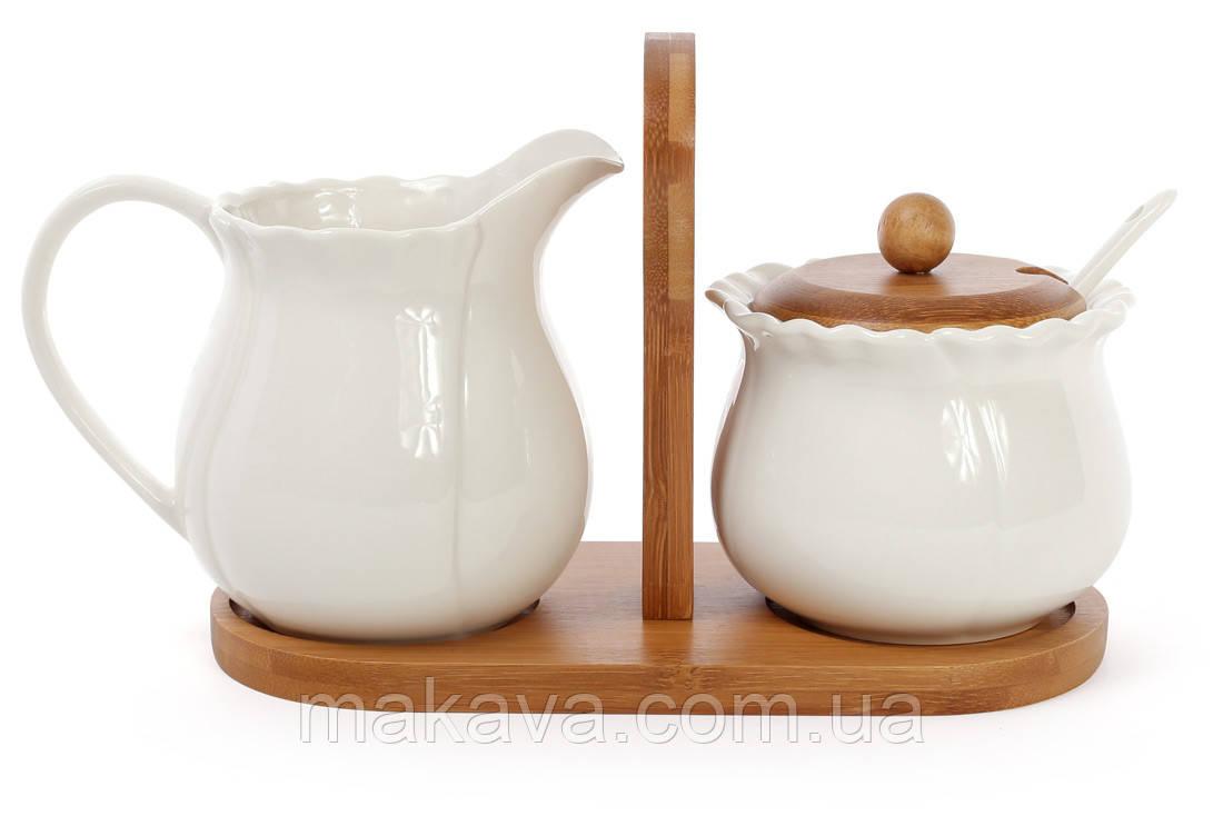 """Набор чайный """"Naturel""""  молочник + сахарница на бамбуковом подносе"""