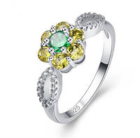 Серебряное кольцо, Цветок, с камнем  куб. цирконий, размер 17, фото 1