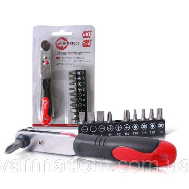Рукоятка с храповым механизмом для отверточных насадок INTERTOOL VT-0105