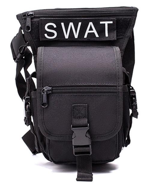Сумка тактична на стегно SWAT, з кріпленням на пояс ForTactic чорна