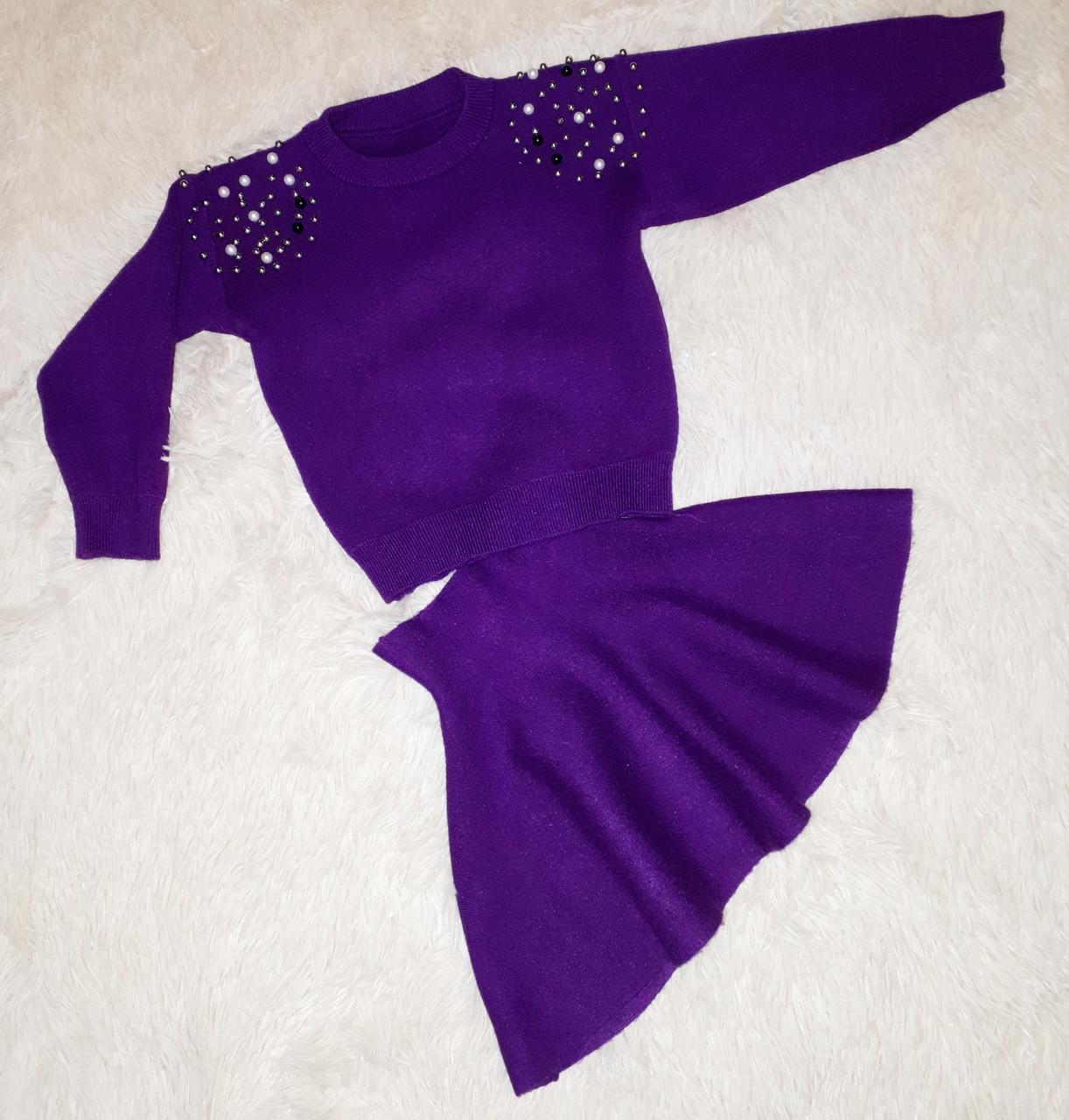 Костюм для девочки кофта c юбкой цвет фуксия размер  104 116 122