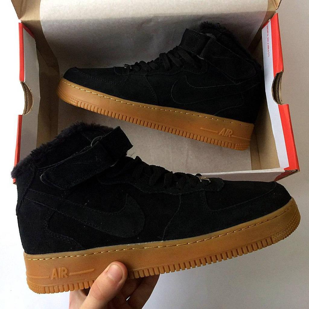 Зимние мужские кроссовки Nike Air Force высокие, с мехом, черные ( реплика) 93271f63612
