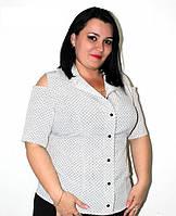 """Блуза, рубашка, с открытыми плечами """"Супер софт"""", с гладкой шелковистой поверхностью, размер 50 код 3674М"""