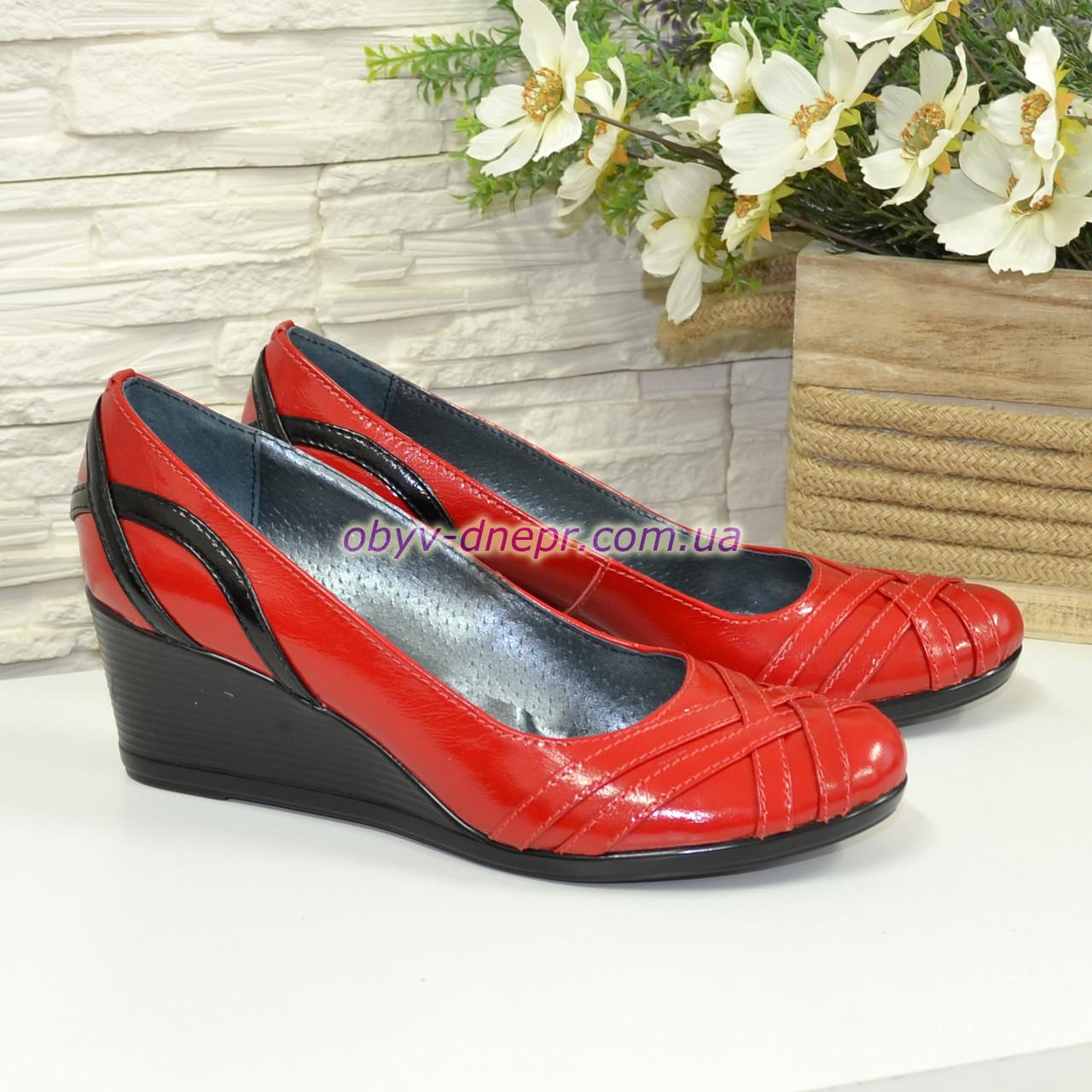 """Женские красные лаковые туфли на танкетке с плетением из лаковой кожи. ТМ """"Maestro"""""""