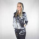 Женский велюровый спортивный костюм серебряного цвета, фото 5