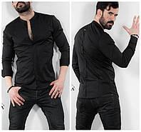 Черная мужская рубашка с длинным рукавом., фото 1