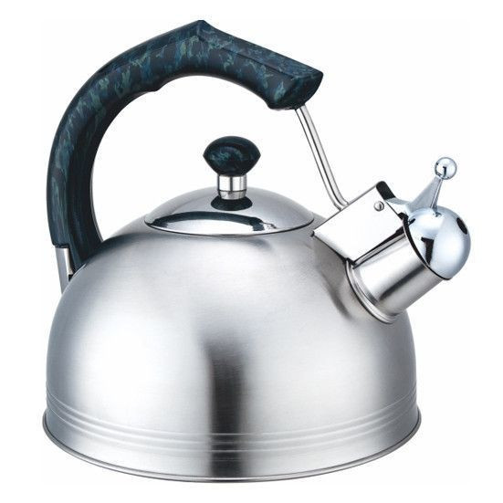 0675 Чайник Kamille 2,3 л. нерж. зі свистком (ручка: корич, зелений, беж, карам.)