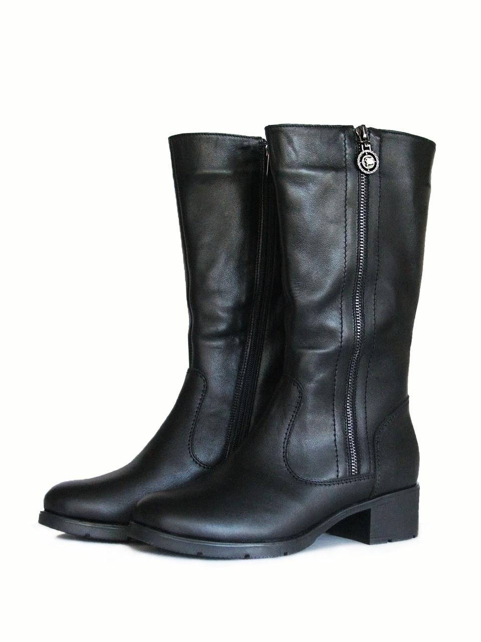 Теплые зимние полусапоги на устойчивом каблуке