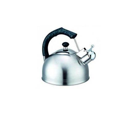 0675 Чайник Kamille 2,3 л. нерж. зі свистком (ручка: корич, зелений, беж, карам.), фото 2