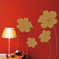 Интерьерная наклейка на стену Маковое поле (виниловый стикер, крупные цветы в интерьере, растение, маки)