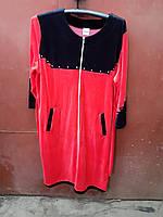Женский велюровый халат двухцветный больших размеров