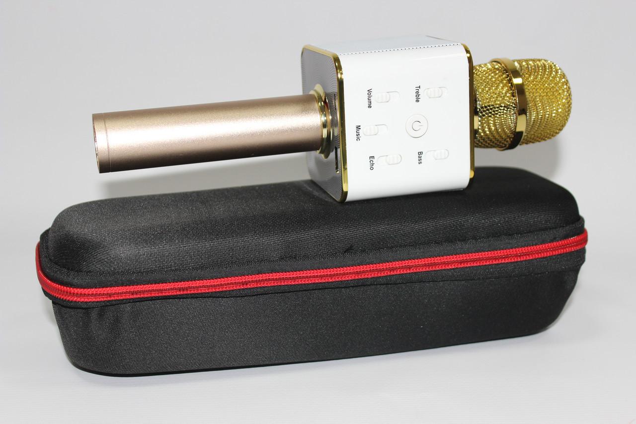 Портативный микрофон-караоке Q7, Bluetooth, MS + чехол, золотой цвет