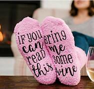"""Подарочные носки """"Капкейк"""" ( Кексы ) с надписью """"Принеси Вина"""" розовые"""
