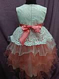 Платье детское нарядное молочное с персиковым на 4-6 лет, фото 2