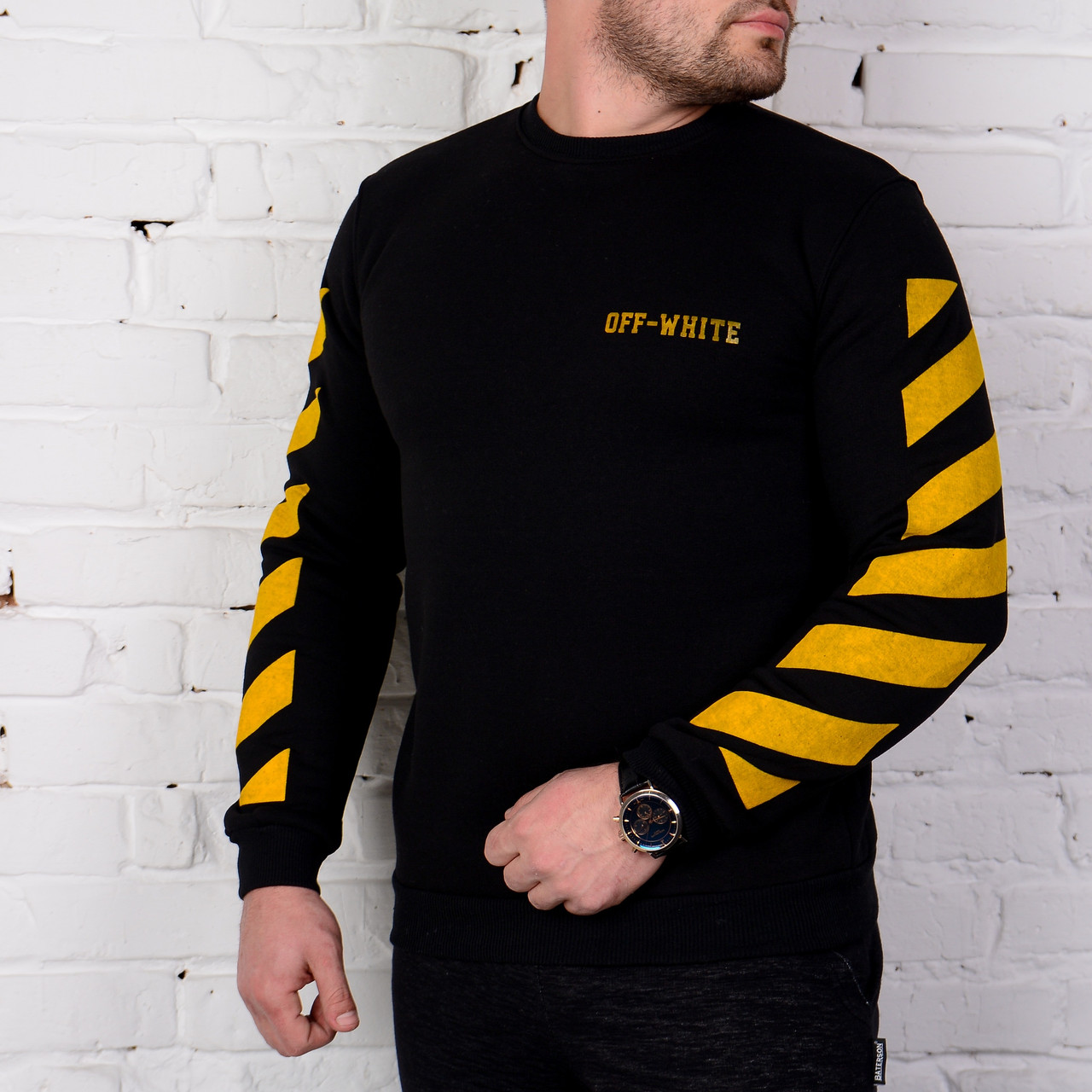 Мужской свитшот Off White черный с желтым