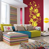 Декоративная виниловая наклейка на стену Тюльпаны в завитках ( пленка самоклейка цветы, растения на обои)