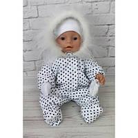 Комбинезон белый в горошек - одежда и обувь для кукол типа Baby Born