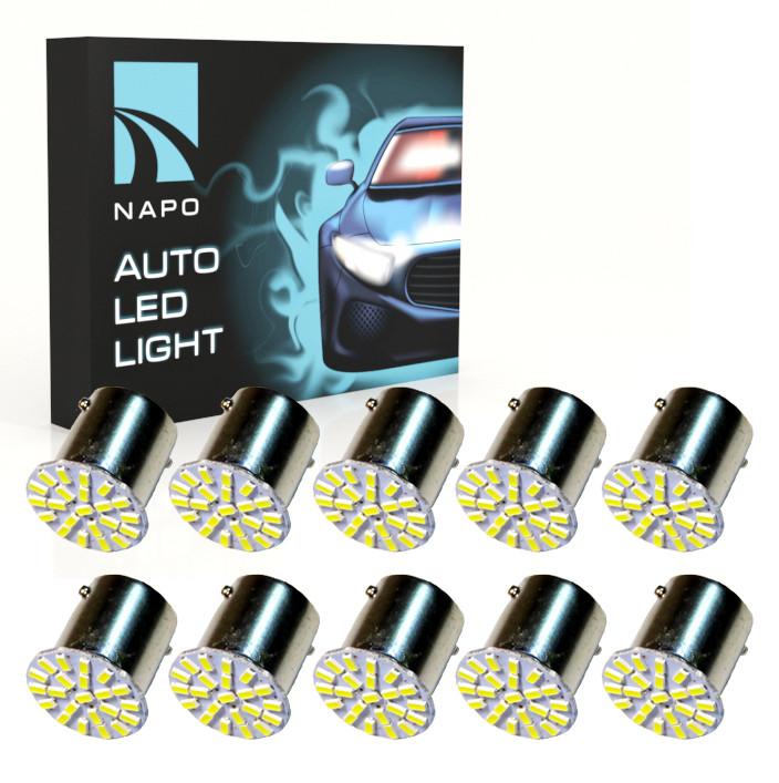 Автолампа диодная 1156-3014-22SMD, комплект 10 шт, 1156, BA15S, P21W, цвет свечения белый