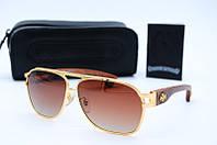 Солнцезащитные очки ChHBriwn коричневые в золоте