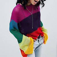 Свитера женский яркий в полоску свободного кроя, фото 1