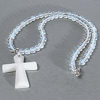 Кварц белый и лунный камень, серебро, крестик, 943КЛК