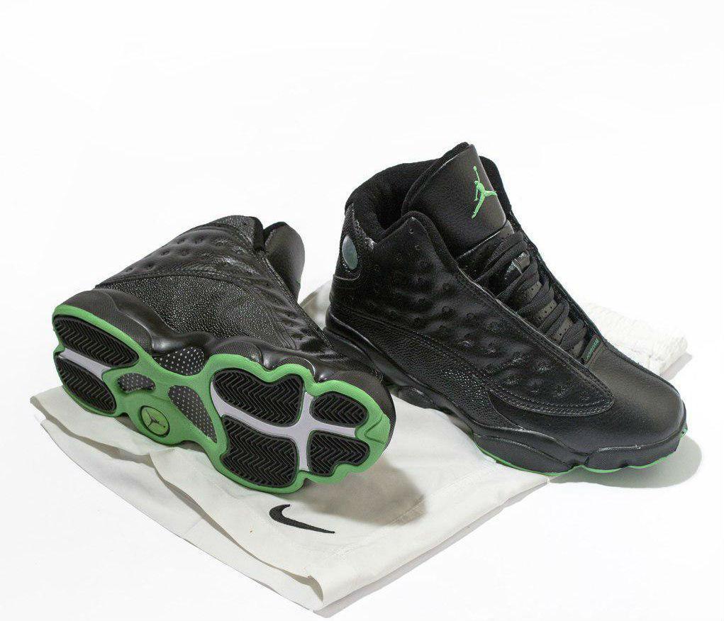 separation shoes a41fe bb763 Air Jordan 13 Retro Black Green | кроссовки мужские; кожаные; черные