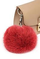 Брелок до сумочки з натурального хутра (польський кролик) в десяти кольорах. Червоний.